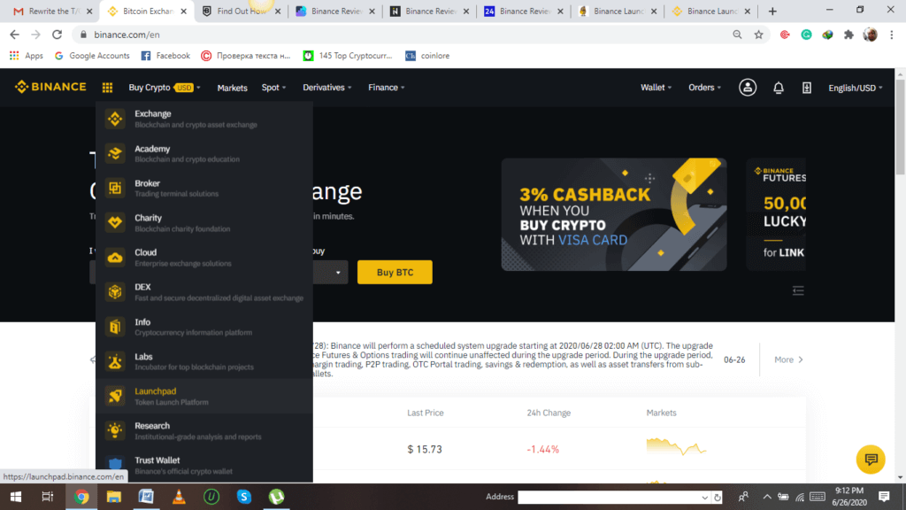 Binance review- Launchpad Initial Coin